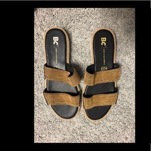 BC gold and black sandal - never worn - size 7